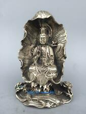 Collection Tibetan silver Hand carved Sitting lotus Guanyin Bodhisattva Statue