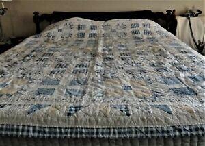 "Vintage ARCH QUILT, Elmsford NY Large Patchwork Cotton Quilt 76""x80"""