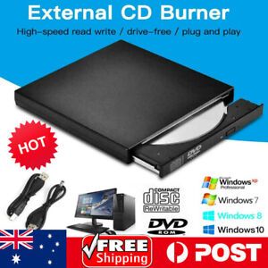 USB External Drive CD RW DVD ROM Writer Burner Player For PC Laptop Mac WIN8/10