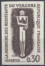 RÉSISTANCE VERCORS N°1336 ESSAI COULEUR NN DENTELÉ MARRON PROOF 1962 NEUF ** MNH