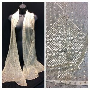 Vintage 1920's Art Deco Egyptian Revival Silver Embroidered Assuit Shawl Scarf