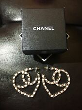 Ribbon Quilted Heart Logo Earrings New Rare Only 1 Nib Chanel Large Cc N Silk