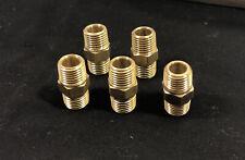 5ea Lot Brass Nipple Male 38 Npt X 38 Hex Union Pipe Thread Used Clean