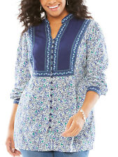 Woman Within BLUE Multi Print Long Sleeve Blouse Size Medium to 5x