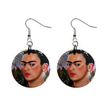 """New Art painting Frida Kahlo 7 by L Dumas for 1"""" Button Earrings Free Shipping"""