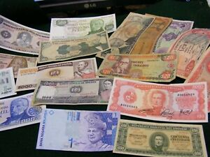 Lot of 17  Unused & Used South America etc. banknotes All diff.