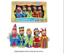 NEW 5 WOODEN HEAD Finger Puppets Puppet KING & QUEEN Theme 10cm Jester Princess