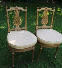 VINTAGE PAIR OF LOUIE XVI FRENCH STYLE CAIN CHAIRS
