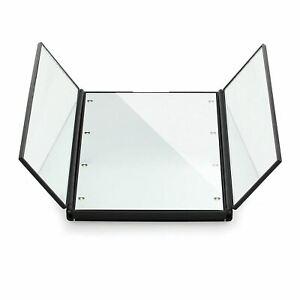 Tri-Folding Cosmetic Mirror 8 LED Lights Slim Pocket Compact Travel Portable
