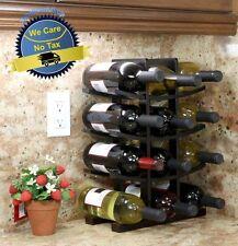Wooden Wine Rack 12 Bottle Bar Kitchen Storage Liquor Holder Home Decor Wood NEW