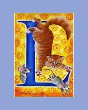 "Alphabet Cat ACEO Print Letter ""L"" by I Garmashova"
