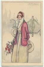 VINTAGE FASHION / GLAMOUR LADY POSTCARD SIGNED MAUZAN Series 414 #1
