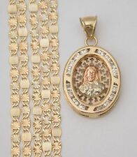 14k White Yellow Rose Gold Jesus Face CZ Charm Pendant