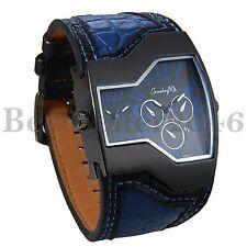 Mens Blue Wide Leather Military Sport  Large Dual Time Quartz Analog Wrist Watch