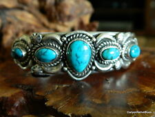 Old Pawn Sterling Silver Multi Turquoise Navajo Cuff Bracelet MARCELLA JAMES