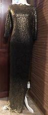 Nordstrom MARINA Metallic Gold Black Lace Long Formal Size 6 Ambre'