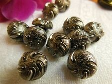 lot 6 petits  boutons anciens verre argenté motif vintage 1/1,1 cm R 1200