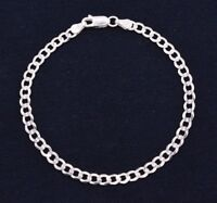 4mm Italian Miami Cuban Curb Link Bracelet Real Sterling Silver 925 ALL SIZES