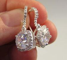 Estate Gorgeous Sparkly Premier Designs Rhodium C Z Pierced Dangle Drop Earrings