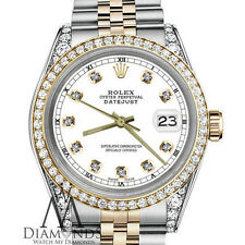 Women's 26mm Rolex 2 Tone 18K Gold SS Datejust White Color Diamond Accent Dial