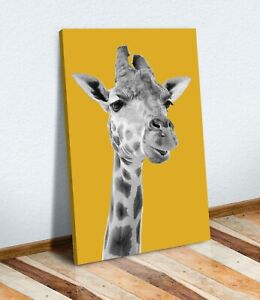GIRAFFE BLACK AND WHITE YELLOW MUSTARD CANVAS WALL ART PRINT ARTWORK