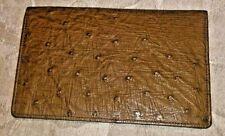 VINTAGE Exotic Brown Leather LONG WALLET Orange Inside Coins Pocket + Mico CARD