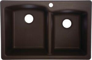 Franke EODB33229-1 Granite Offset Double Bowl Kitchen Sink, Mocha