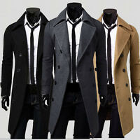 Fashion Winter Men Slim Stylish Trench Coat Thick Double Breasted Long Jacket US