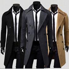 Abrigo hombre ajustado doble botonadura abrigo gabardina chaqueta otoño invierno