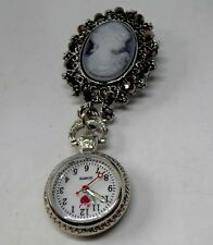 Beautiful Vintage Cameo Brooch Pin Pendant Fob Watch