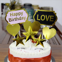 HAPPY BIRTHDAY CAKE PICK TOPPER DECORATION SMALL GOLD CALLIGRAPHY Cupcake Pink