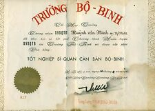 ARVN Certificate General PHẠM QUỐC THUẦN Hand Signed at Trường Bộ Binh 1962