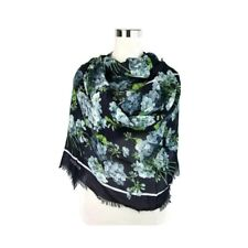 """Gucci Women's """"Bloom"""" Print Navy Blue Modal and Silk Large Scarf/Wrap - NEW"""