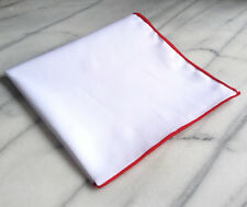 Cotton Mens Pocket Square-Solid White Cotton Pocket Square with Red Border/Edge