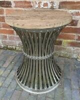 Round Side Table Industrial Vintage Rustic Reclaimed Wood Silver Iron Base