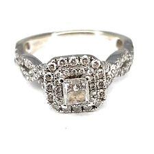 Vera Wang 14K White Gold 1.00ctw Diamond Halo Engagement Ring - Sz. 5¼