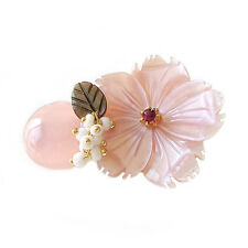 Wholesale Lot 5PCS Handmade Flower Mother of Pearl Beaded Small Brooch Pin Pink