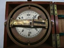 Ship Bearing Plate Maritime Compass Navigation Tool Sundial Brass Wood Box Boat