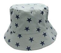 Kids Boys Girls Reversible Blue Stars Bucket Sun Hat Age 2 3 4 Chin Strap