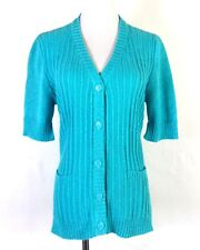vtg 60s 70s Alex Colman California Bright Blue Ribbed Ss Cardigan Sweater Top L