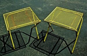 """ANTIQUE PAIR SMALL WIRED YELLOW CAMPING FOLDING TABLES VOLKSWAGON 16"""" x 16"""""""