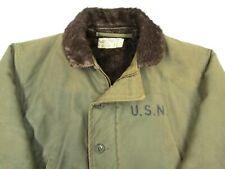 Vtg WW2 USN Deck Jacket sz 38 ~ N1 Stenciled 1940s work wear US Navy EUC coat