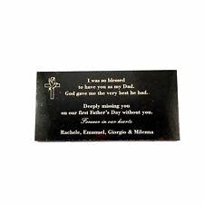 Grave Memorial Marker Custom Laser Engraved on Black Granite  300x150mm