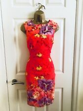 Lipsy Orange Lace Floral Party Evening Mini Fitted Occasion Wiggle Dress £65 10