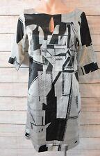HOWARD SHOWERS Dress Sz 8 small 10 black white grey shift tunic dress