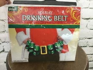 Holiday Drinking Belt Christmas Adult Sz Black Fits 6 Beer Cans NIP