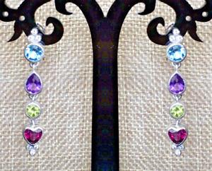JUDITH RIPKA Sterling Silver Diamonique Gemstone Linear Dangle Earrings NWT