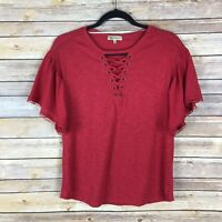 Democracy Womens Top Knit Tee Lace Up Flutter Sleeve Solid Red Size XS