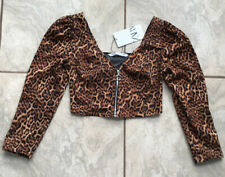 BNWT Zara Top Size S 8 Zip Front Leopard Print Puff Sleeve Blouse Animal Blogger