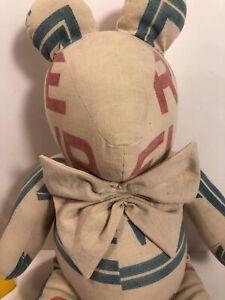 "Primitive Handmade Stuffed Mouse 18""/20"" Long EUC Chicago NY"